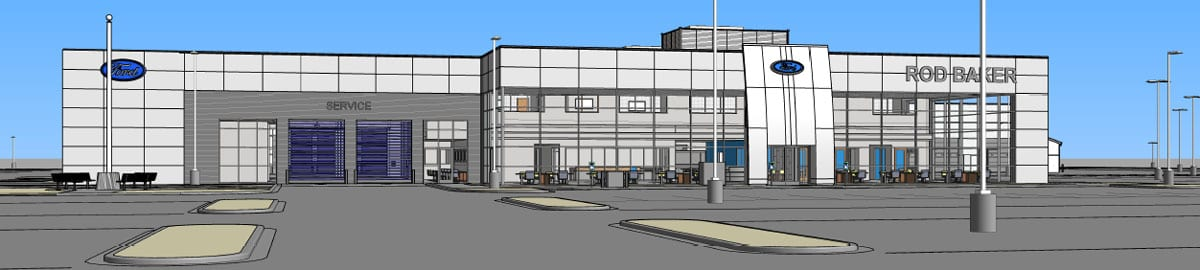 building glass auto dealership rendering